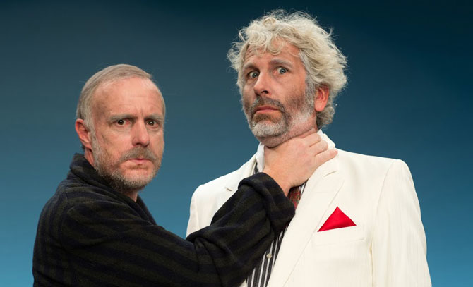 Dirk Stermann und Christoph Grissemann sind die Sonny Boys. Gastspiel des Rabenhof Wien an der Bühne Baden.