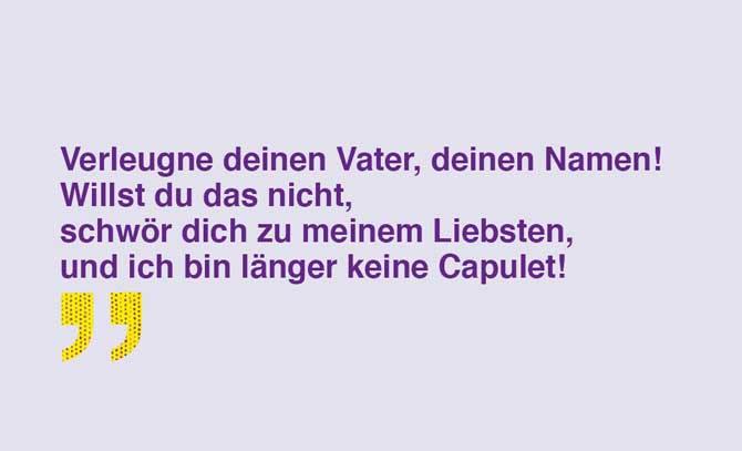 """Zitat aus William Shakespeares """"Romeo und Julia"""" – ein Gastspiel des Landestheaters Niederösterreich an der Bühne Baden. © Landestheater Niederösterreich"""